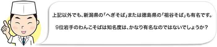 上記以外でも、新潟県の「へぎそば」または徳島県の「祖谷そば」も有名です。10位岩手のわんこそばは知名度は、かなり有名なのではないでしょうか?